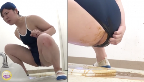 【スク水脱糞】スクール水着着たまま美少女が下痢便大放出!